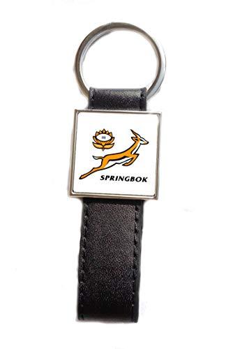 Schlüsselanhänger Stahl/Kunstleder Logo Rugby Springbok – Südafrika