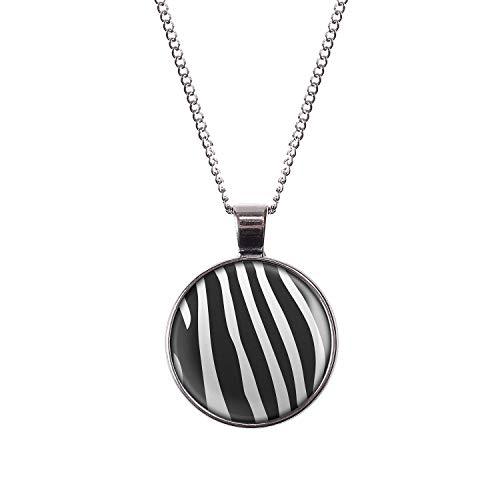 Mylery Halskette mit Motiv Zebra Zebra-Muster gestreift schwarz weiß Silber 28mm