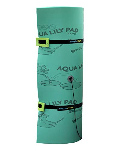 Aqua Lily Pad Bullfrog Floating Water Mat (20' x 6') Extra Buoyant 3 Layer Yellow/Black/Green Foam Raft Island, Made in The USA