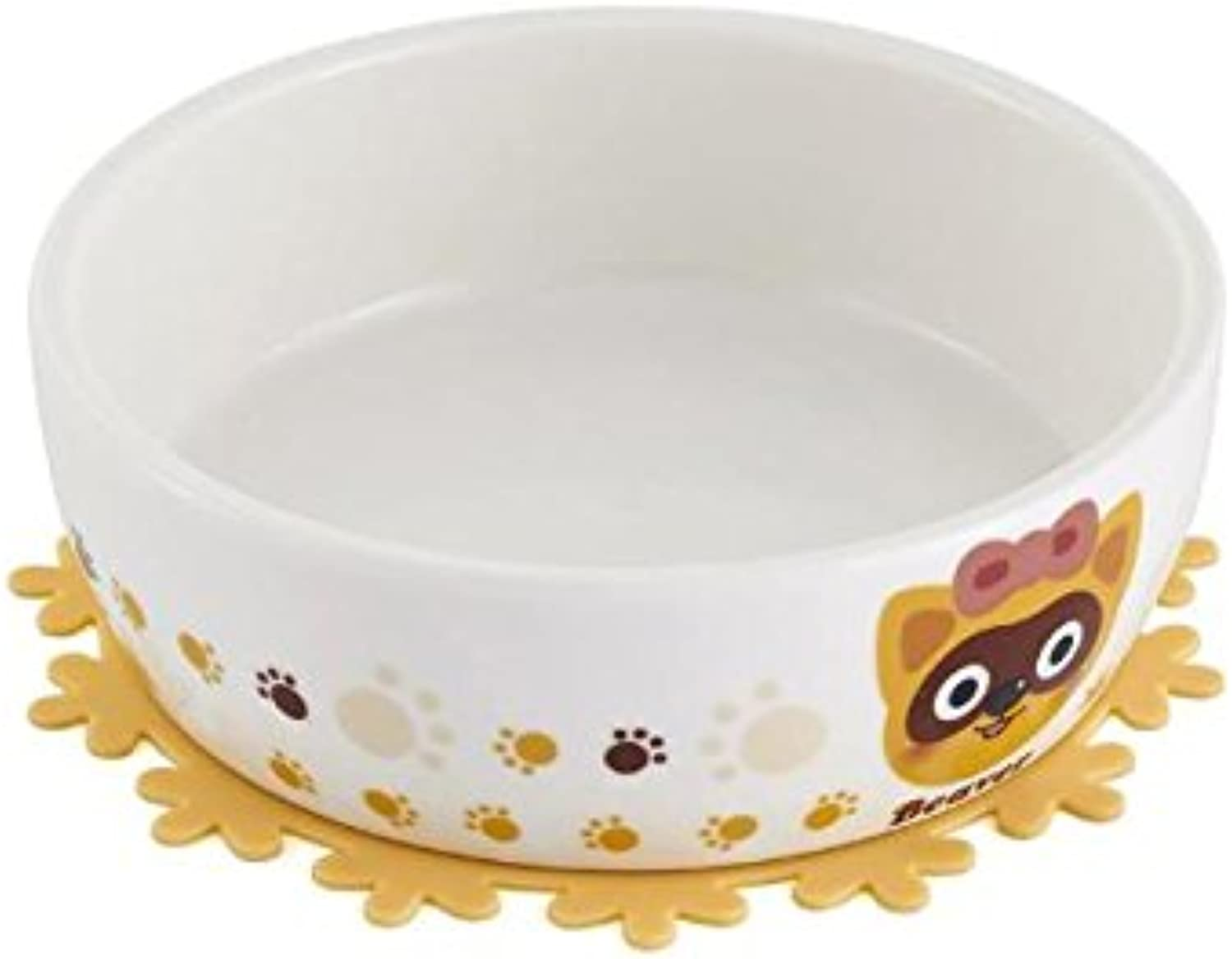 Global Brands Online Ceramic Pet Bowl with Free Placemat for Food and Water Bowls Pet Feeders Two Patterns
