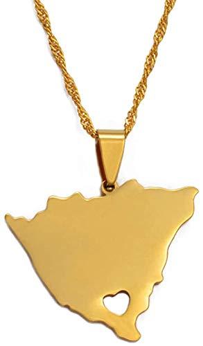 Aluyouqi Co.,ltd Collar Colgante Y Collares De Mapa De Nicaragua para Mujer, Encanto De Color Dorado, Mapas De Nicaragua, Joyería, Regalos Patrióticos, 60 Cm