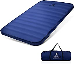 Hikenture Extra Thick Double Self Inflating Sleeping Pad, 9.5 R Camping Mattress 2 Person, Inflatable Foam Camping Pad with Pump Sack, Portable 4 in Thickness Comfort Plus Camping Mat for 4-Season