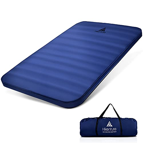 Hikenture Extra Thick Double Self Inflating Sleeping Pad, Comfort Plus Camping Mattress 2 Person, Inflatable Foam Camping Pad with Pump Sack, Portable 4 in Thickness 9.5 R Camping Mat for 4-Season