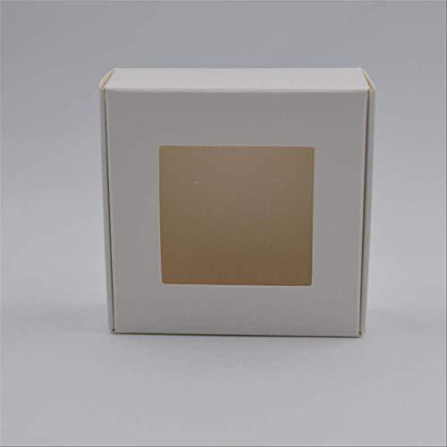 FHFF Kraft Papier Tas 50 Stks Vintage Wit/Zwart/Kraft Papier Doos, DIY Bruiloft Favor Sieraden Geschenkdoos, Kleine Handgemaakte Zeep Verpakking 7.5X7.5X3Cm Wit