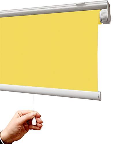 Estor Auto-Enrollable traslúcido Premium/SIN Cadena (Desde 45 hasta 220cm de Ancho/Permite Paso de luz, no Permite Ver el Exterior/Interior). Color Amarillo Claro. Medida 45x50cm.