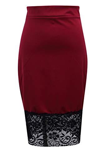 FDJIAJU Falda para Mujer,Señoras Falda Recta Alta Rodilla Longitud Longitud Tubo De Tubo Falda Moda Sexy Encaje Bodycon Midi Lápiz Vestido De Oficina De Trabajo Oficina De Ropa De Día,Vino Rojo, L