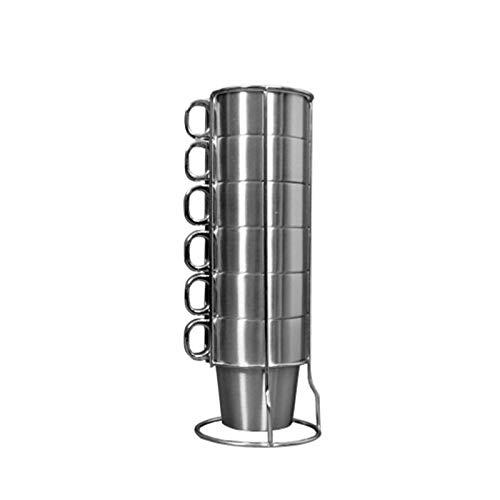 CHUNGEBS Conjunto de 6 Taza de café apilable de Metal, Taza de café con Aislamiento de Doble Pared con asa y Soporte, Mantenga Bebidas Calientes por más Tiempo, para la Cocina y el Bar para el hogar
