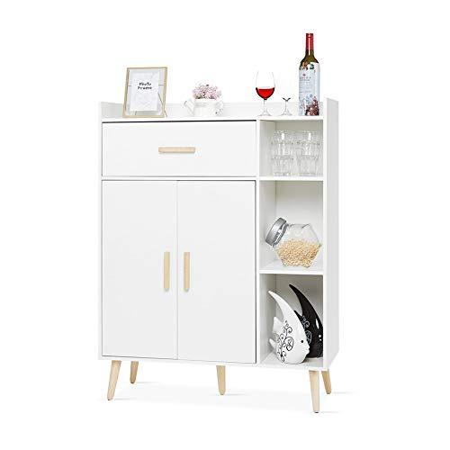 Meerveil Kommode, Sideboard Beistellschrank mit Schubladen und 2 Türen Verstellbare Regalebene Holz Freistehend für Wohnzimmer Schlafzimmer Küche Flur Weiß