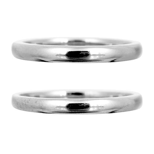 [ココカル]cococaru ペアリング 2本セット K10 ホワイトゴールド マリッジリング 結婚指輪 日本製 (レディースサイズ19号 メンズサイズ14号)