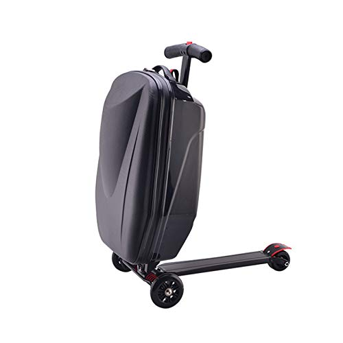 ORPERSIST Pedal Suitcase Rolling Luggage Cart Folding Scooter with 3 Wheels Lightweight And Waterproof Durable Hard for Outdoor Travel 55×34×30Cm,Black