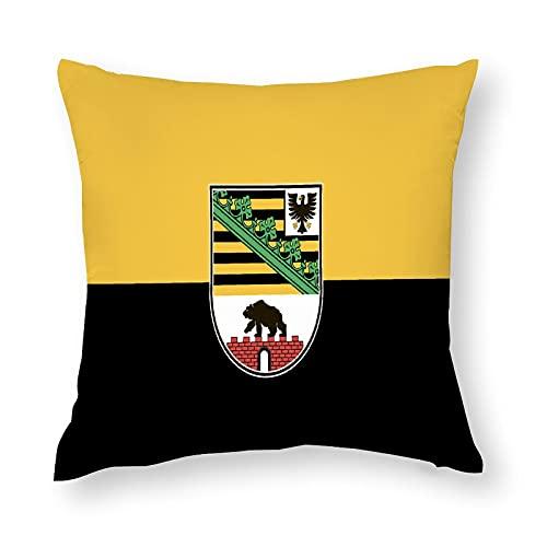 Flagge Sachsen Anhalt Kissenbezug Quadratisch Dekorative Kissenhülle für Sofa Couch Zuhause Schlafzimmer Indoor Outdoor Niedlich Kissenbezug 45,7 x 45,7 cm