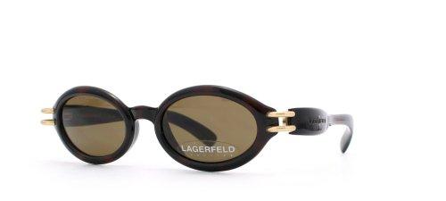Lagerfeld 4132 03 Damen-Sonnenbrille, rund, zertifiziert, Vintage-Stil, Schwarz