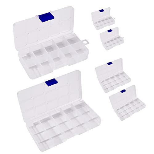 Ornaland 6 Uds, Contenedores Organizadores de Plástico, Cuentas de 10 y 15 Compartimentos, Caja de Almacenamiento Transparente para Cuentas de Joyería, Contenedor de Pendientes