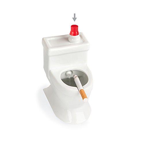 Imagen del producto Balvi Cenicero Flush! Color Blanco En Forma de Taza WC o Inodoro con depósito de Agua para Apagar el cigarro Cerámica
