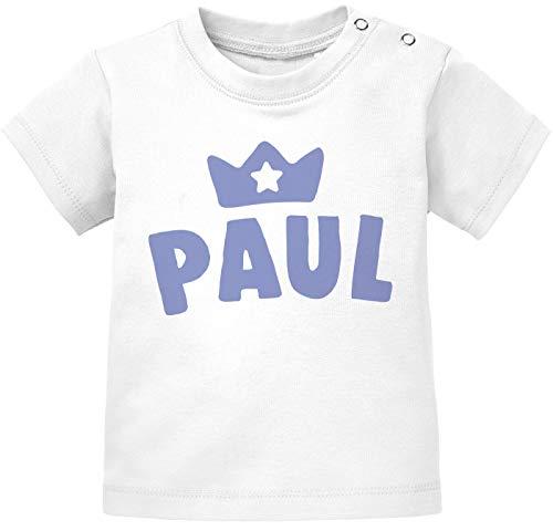 SpecialMe® Baby T-Shirt mit Namen personalisiert Krone Junge Mädchen Geschenk Kleinkind Kurzarm Bio-Baumwolle Jungen weiß 56/62 (1-3 Monate)
