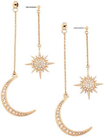 Gold Moon Earrings for women Girls Moon and Star Earrings Jewelry Fashion Long Drop Dangle Stud product image