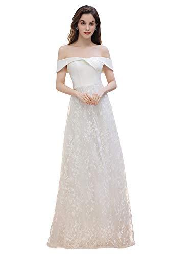 Elegant Damen Brautkleid Hochzeitskleider Schulterfrei mit Carmen-Ausschnitt Ballkleid Festlich A Linie Abenkleider für Hochzeit, Elfenbein, 34