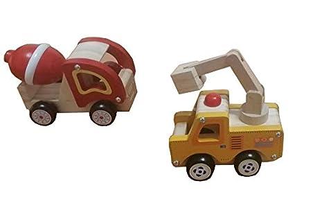 Lote de Dos Camiones de Madera de Juguete con Bolsa de Transporte para niños y niñas - Montessori - Diversión y Creatividad – Grúa, hormigonera, apisonadora, Bomberos (Hormigonera + Grúa Amarilla)