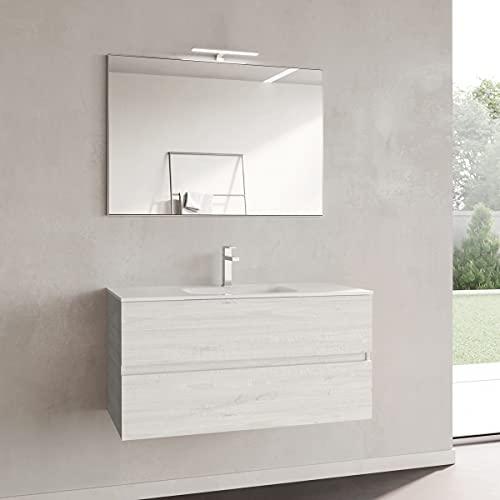Yellowshop. - Mobile Bagno sospeso 100 cm Stile Moderno 2 cassetti lavabo specchiera LED MOD. Andre Plus (Alaska)