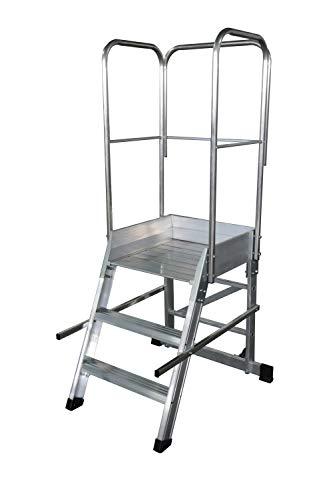 KTL Escalera Profesional de Aluminio un Acceso con Plataforma de Trabajo 3 peldaños 60x60 Serie Store 68º almacén