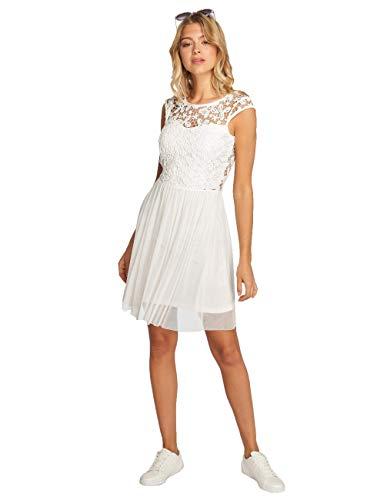ONLY Damen Kleid Onlcrochetta Mesh Capsl Dress Wvn, Weiß (Cloud Dancer), 38
