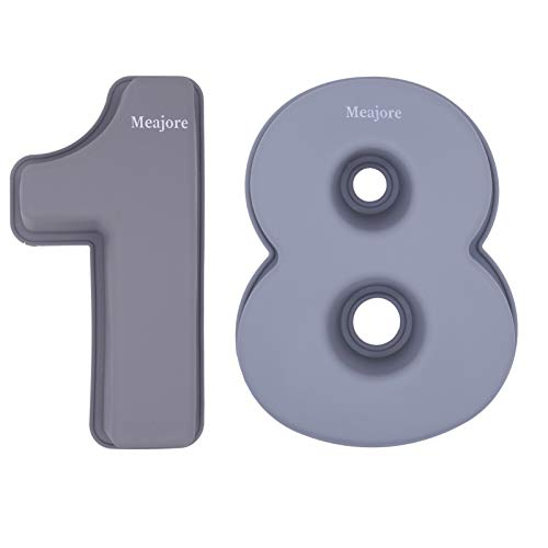3D Large Number Cake Pan,Silicone Baking Novelty Cake Moulds for 1/8/18/81th Birthday or Anniversary,10 inch Number of 1&8