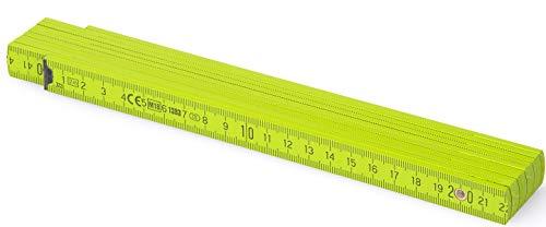 Metrie™ BL52 Holz Zollstock/Zollstöcke |2m langer Gliedermaßstab, Maßstab|Meterstab mit Duplex-Teilung - Hellgrün