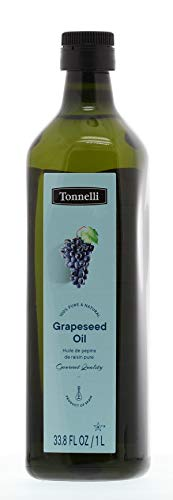 Tonnelli 100% Pure Grapeseed Oil, 33.8oz Bottle, Gourmet Quality, Product of Spain, Non GMO Verified, Certified Kosher, Perfect for High Heat Frying and Cooking