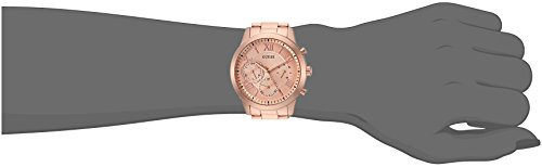 GUESS Classic Rose Gold-Tone Bracelet Stainless Steel Watch with Day, Date + 24 Hour Military/Int'l Time. Color: Rose Gold-Tone (Model: U1070L3)
