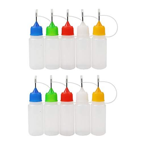Newin Star Precision Tip Applicator Flaschen, 15ml Nadelspitze Kleber Flasche Mini-Trichter für DIY Quilling Kunsthandwerk, Malerei Acryl 10Pcs zufällige Farbe