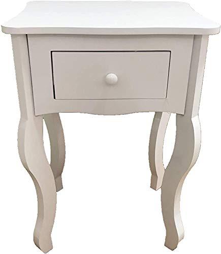 Muebles de desayuno con 1 cajón de madera, utilizado en dormitorio o sala de estar, alto 57 cm x longitud 40 cm x profundidad 32 cm,White
