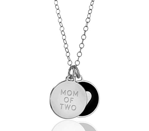 925 Sterling Silver Heart Mom of 2 Charm Pendant Black...