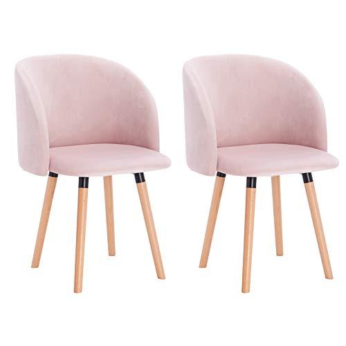WOLTU Esszimmerstühle BH121rs-2 2er Set Küchenstuhl Wohnzimmerstuhl Polsterstuhl Design Stuhl mit Armlehne, Sitzfläche aus Samt, Gestell aus Massivholz, Rosa