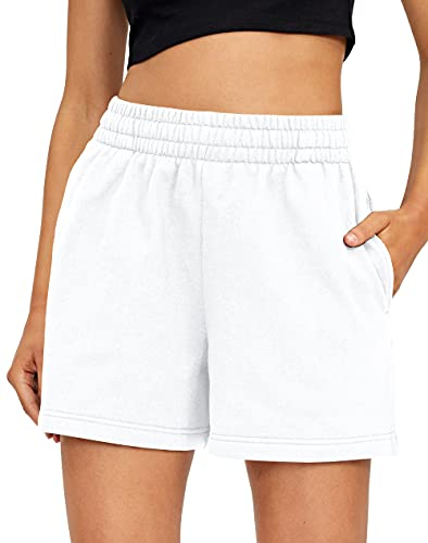 AUTOMET Womens Shorts Casual Summer Drawstring Comfy Sweat Shorts Elastic High Waist Running Shorts with Pockets White