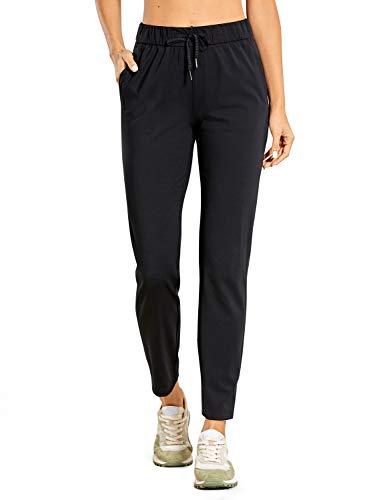 CRZ YOGA Women's Stretch Sweatpants Ankle Drawstring,  Athletic Training Track Pants Black Medium
