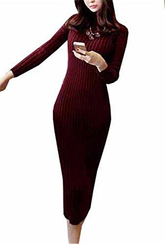 Haroty Damen Strickkleid Lang Winter Herbst Strickpullover Slim Sweater Einfabrig Jumper Oberteile Hoher Kragen Strickpulli (Bordeaux, One Size)