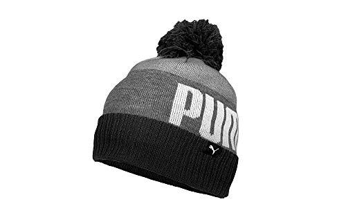 PUMA Men's Evercat Block Cuff Pom Beanie, Black Combo, One Size