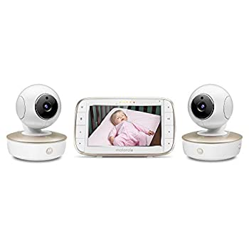 Motorola Video Baby Monitor - 2 Wide Angle HD Cameras with Infrared Night Vision and Remote Pan Tilt Zoom - 5-Inch LCD Color Display with Split Screen View Room Temperature and Sound Alert MBP50-G2