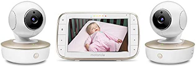 Motorola Video Baby Monitor - 2 Wide Angle HD Cameras with Infrared Night Vision and Remote Pan, Tilt, Zoom - 5-Inch LCD Color Display with Split Screen View, Room Temperature and Sound Alert MBP50-G2