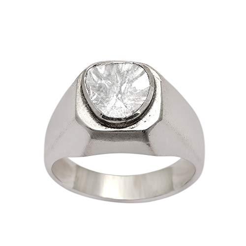 0.50 CTW puntero corte solitario diamante polki anillo de bodas para hombres, anillo hecho a mano de plata de ley 925 (13)