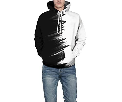 WIITON Traje de otoño, suéter con Capucha de impresión Digital 3D, Traje de Pareja Suelto de Talla Grande,Black and White,L