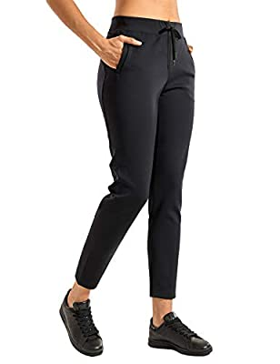 CRZ YOGA Women's Stretch Casual Pants High Waisted Drawstring Jogger Travel Lounge Sweatpants with Zipper Pockets Black Medium