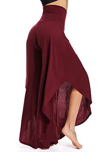 FITTOO Pantalones De Yoga Sueltos Cintura Alta Mujer Pantalones Largos Deportivos Suaves y Cómodos 740,Rojo,XL