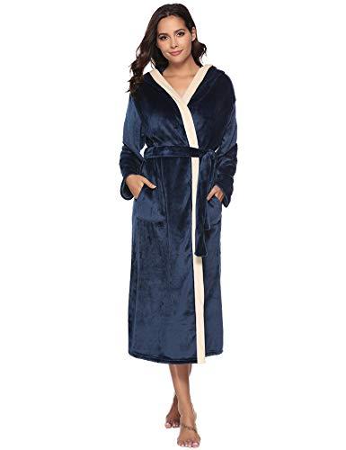 Aibrou Albornoz de Ducha Mujer Bata de Baño Franela con Cinturón Batas Cómodo y Cálido Ropa de Dormir para Otoño e Invierno