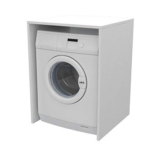 Ve.Ca. Mobile Coprilavatrice a giorno in legno, copri lavatrice/asciugatrice, diversi colori, anche su misura, lavanderia bagno arredo casa (Bianco frassinato)