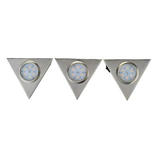 Hi Lite 1754001163 LED Dreiecks-Unterbauleuchte 3x2W warmweiß 3000K mit Schalter & Netzteil