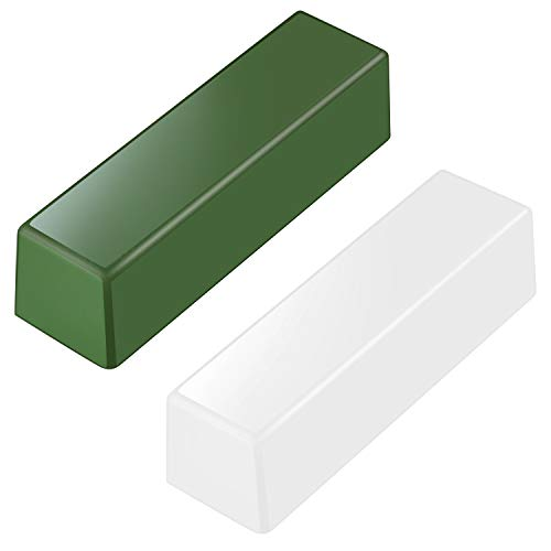 Kit de 2 Piezas de Total 9,8 Onzas Compuestos de Pulido de Cuero de Acero Inoxidable Compuesto de Pulido Verde para Lustrar, Pulir, Cuchillas de Afilar, Cinceles de Tallado en Madera (Blanco y Verde)