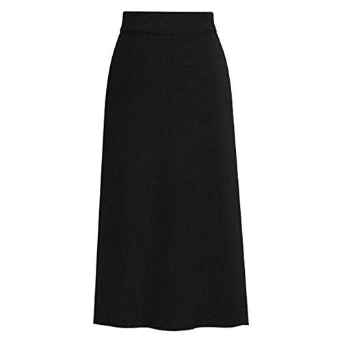 LIUYUNN Damska spódnica midi, czarna elegancka luźna elastyczna talia plus rozmiar linia A spódnice biodra wąskie długie szopy spódnice duży rozmiar dzianinowe spódnice ołówkowa spódnica do codziennego noszenia biura zdjęcie L