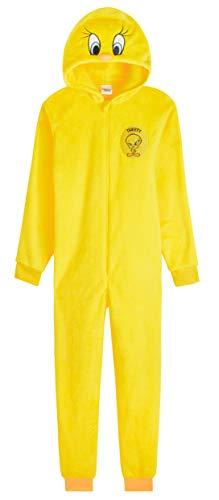 Looney Tunes Pijamas Mujer Invierno de Una Pieza, Pijama Mujer Entero Piolin con Capucha 3D, Merchandising Oficial Regalos para Mujer y Chica Adolescente S-XL (Amarillo, L)