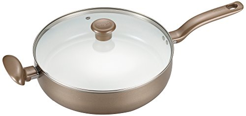 T-fal C72882 Initiatives Nonstick Ceramic Coating PTFE PFOA and Cadmium Free Scratch Resistant Dishwasher Safe Oven Safe Jumbo Cooker Fry Pan Cookware, 5-Quart, Gold